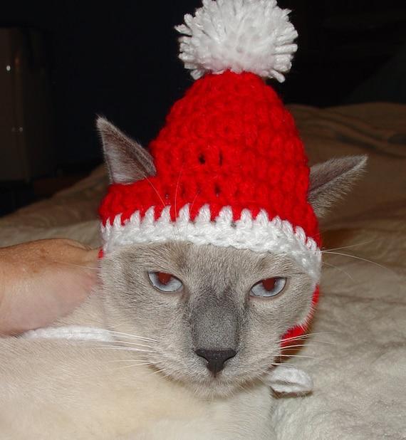 Handmade Crochet Santa Elf Cat Hat Cap Beanie Pattern