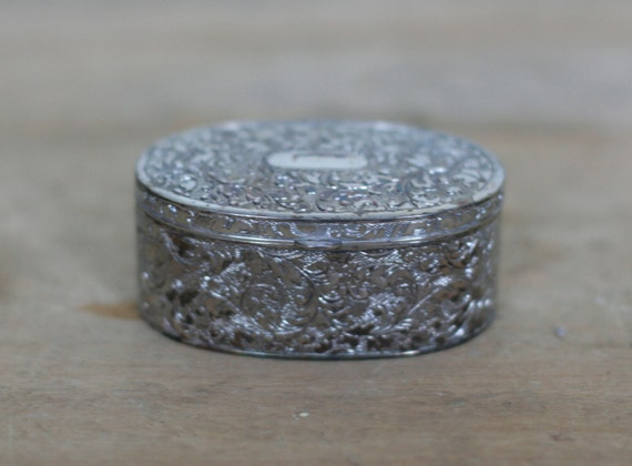 vintage oval silver plate jewelry box