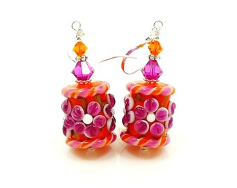 Pink & Orange Floral Earrings, Glass Earrings, Glass Bead Earrings, Lampwork Earrings, Flower Earrings, Beadwork Earrings, Colorful Earrings