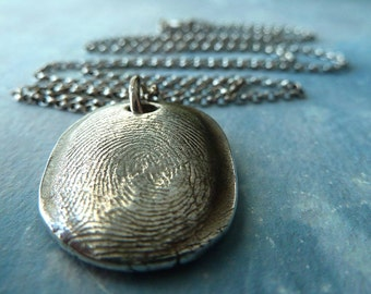 Keepsake Fingerprint Necklace. Personalized Fingerprint Jewelry. Fine Silver Personalized Fingerprint Pendant.