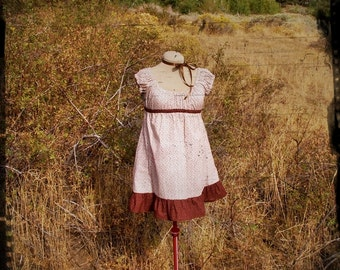 Harvest Calico Cotton Babydoll Dress size Small, clearance priced