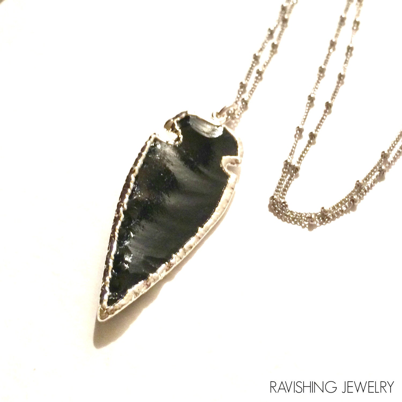 black obsidian arrowhead warrior necklace in by