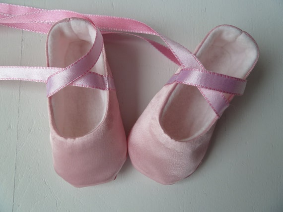 Baby Girl Shoes Infant Ballet Slippers in Pink Satin