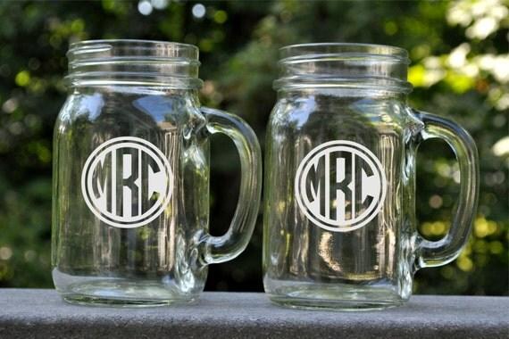 Personalized Mason Jar Mug with Circle Monogram Glass Mug