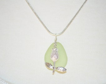 Sea Glass Jewelry Beach Necklace Rare Pale Lime Green and Apple Charm 5600C