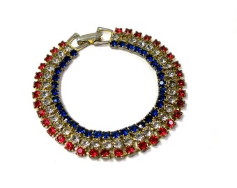 Vintage 1940s Patriotic Red White and Blue RHINESTONE Party Bracelet Small