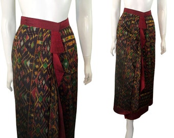 Silk Ikat Print Skirt Cranberry Red and Gold Boho Pencil Skirt Stunning Vintage 1970s