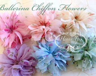 NEW: Floral Printed Ballerina Chiffon Scallop Flowers, Silk Ballerina Twirl Flowers, DIY Supply Flowers. Hair Accessories Applique Flowers.