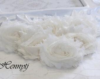 Set of 6 Shabby Frayed Vintage look Chiffon Rosette Flowers - OFF WHITE Shabby chic Flowers.