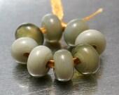 Translucent Light Olive Green Glass Lampwork Beads Handmade