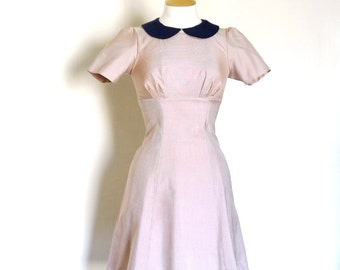 Pink and Silver Silk Gingham Diner Dress- by Dig For Victory