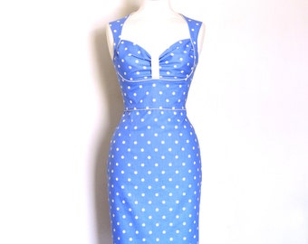 Size UK 16 - Dusky Blue Polka Dot Bustier Pencil Dress - Made by Dig For Victory