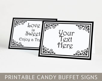Printable Candy Buffet Labels and Tent Cards Pink & Brown