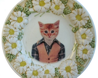 Tommy C., School Portrait - Altered Vintage Plate, 7.65""