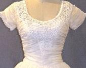 50s Wedding Dress, Vintage 1950s Wedding Dress, Ivory Organza and Lace Dress, Small