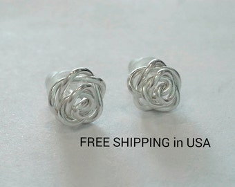 sterling silver rose earrings FREE SHIPPING