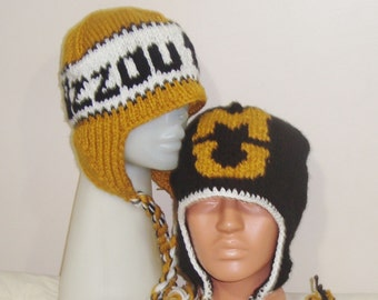 Mizzou Tigers, Personalized Gift for Boyfriend, for Mom, Friend, Women, Men, Husband, Personalized Hand Knit Hat, Black, Gold, White