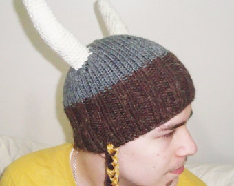 Viking hat, women's hat, woman's hat, funny hat, party hat, knit viking hat, gray, brown, cream viking horns hat