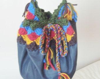 Crochet & Genuine Leather Hip Bag, Hip Purse, festival bag, drawstring purse, bag, tote