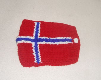 Norway Flag Knit Phone Case with Heart Button in red white blue  - 5 x 6 inch