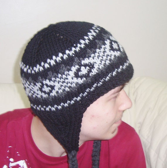 Knitting Pattern Ladies Hat With Ear Flaps : Wool Ear Flap Hat with earflaps /BLACK GREY/ Knit by ...