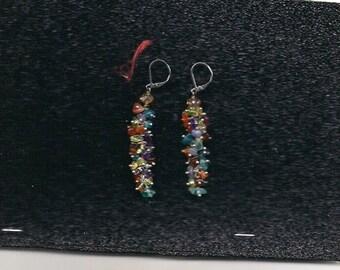 Multi Gemstone Dangle Earrings