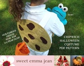 Halloween Costume Pattern - Felt Chocolate Chip Cookie Costume - Chipwich for Toddlers and Big Kids