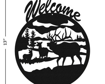Elk (New) Black Metal Welcome Sign