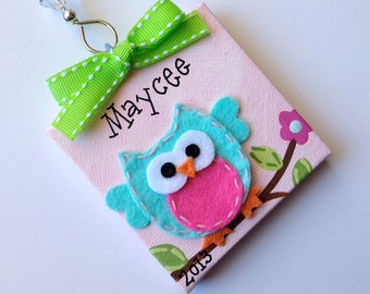 Sweet felt owl holiday ornament - personalized for you!