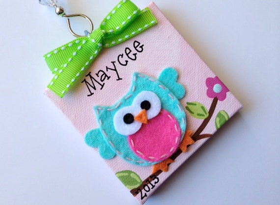 personalized felt owl christmas ornament