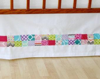 Girl's Patchwork Adjustable Crib Skirt