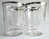 Retro Silver Rimmed Depression Glassware Set of Six