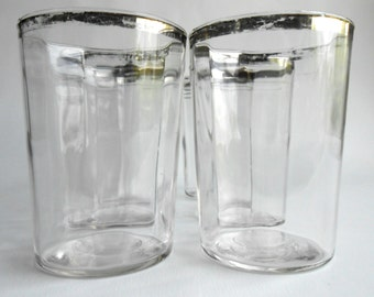 Retro Silver Rimmed Depression Glassware Set of Six