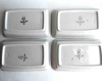 Vintage 1980s Gray and White Sterling China Rectangular Dishes Set of 5