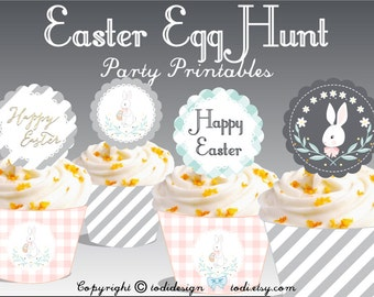 Easter Egg Hunt Party Printables - Cupcake Toppers, Wrappers and SpringBanner  I N S T A N T • D O W N L O A D