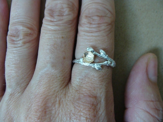 Sterling Wild Blueberry Branch & 14K Gold Blueberry Bud Ring -- Twig Engagement Ring
