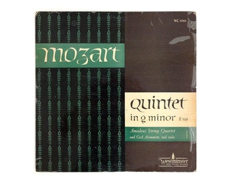 """Ronald Clyne record album design, 1951. """"Mozart: Quintet in G Minor"""" LP"""