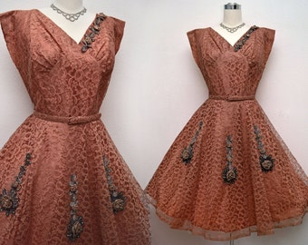 Vintage 50s Dress Copper Lace with Roses and Rhinestones Full Skirt New Look B40 W34