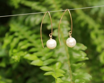 Freshwater Pearl Marquise Earring, Pearl Drop Earrings, Free Shipping, Gold and Pearl Earring, Freshwater Pearl Earrings