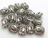 Sale - Reversible silver plated Tibetan Buddha bead - 4 beads - BD415
