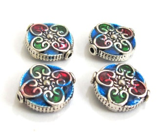 4 BEADS - Round flat disc silver color enamel inlaid  floral heart with sun design beads - BD574