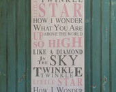 Twinkle Twinkle Little Star Typography Word Art Sign - The Perfect Sign for a Nursery