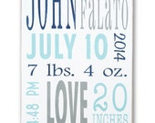 Painted Birth Announcement - Personalized Nursery Decor