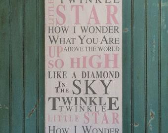 Twinkle Twinkle Little Star Typography Word Art Sign - Nursery Wood Sign