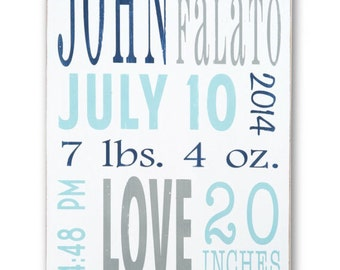 Painted Birth Announcement - Personalized Nursery Wood Sign Decor