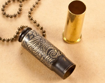 "Time capsule pendant - ""Tribal Vibe"" - etched bullet pendant - bullet necklace - locket"