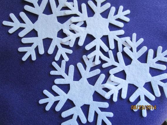 5 Inch Felt Snowflakes 9 Quilting Fabric Appliques Hair