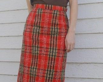 60s Red Plaid Skirt Mod Retro Print Vintage 1960s XS
