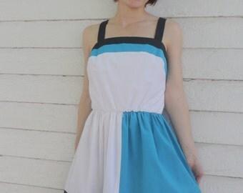 White Summer Dress Colorblock Sleeveless Retro Casual Striped M Vintage 80s 1980s