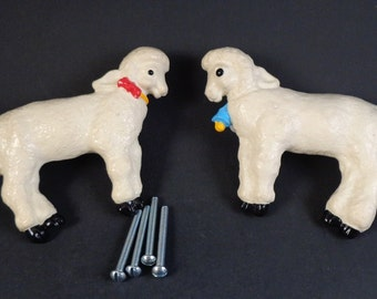 Vintage White Lamb Sheep Drawer Pulls Childrens